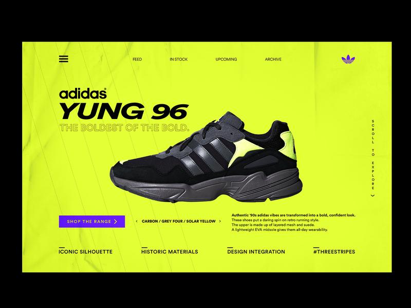 ADIDAS YUNG 96 LANDING PAGE type icon lettering app website ui ux illustration yung adidas adidas originals logo typography web flat vector graphicdesign modern minimal design