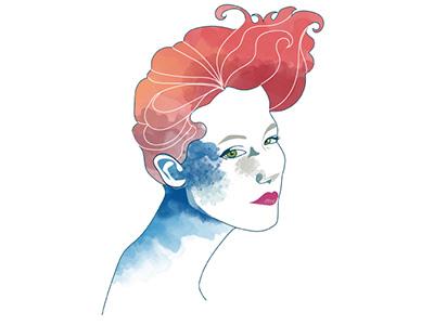 Red Mermaid illustration mermaid
