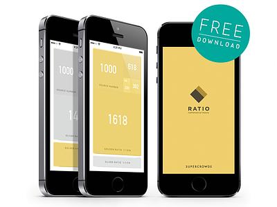 RATIO - Golden ratio & Silver ratio Calculator - design ios app flat ui ux calculator free golden ratio silver ratio