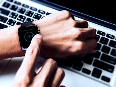 Apple Watch Free Mockup PSD_ver.3 template psd free apple watch mockup app ios hand macbook pc