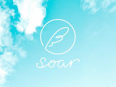 soar / Logo line bird sky soar feather design symbol mark logo