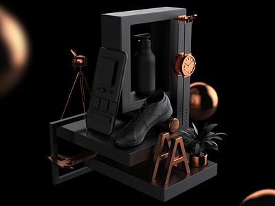3D Work - What we do cg metal black ci package product ui app web branding design 3d