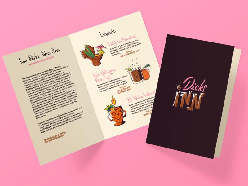 Dicks Inn humor funny fun retro restaurant bar branding menu design texture illustration americana tiki bar