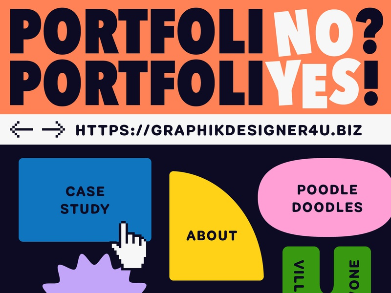 Overtime: PortfoliNO? PortfoliYES! website playful bold friendly geometric shapes podcast art