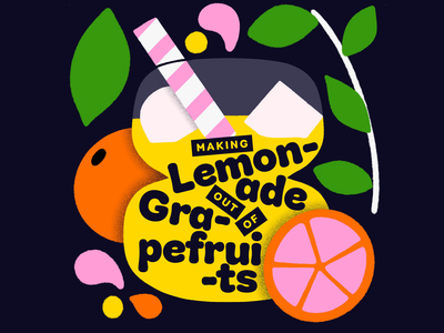 Overtime: Making Lemonade Out Of Grapefruits fruit illustration grapefruits lemonade drink shapes bright fruit