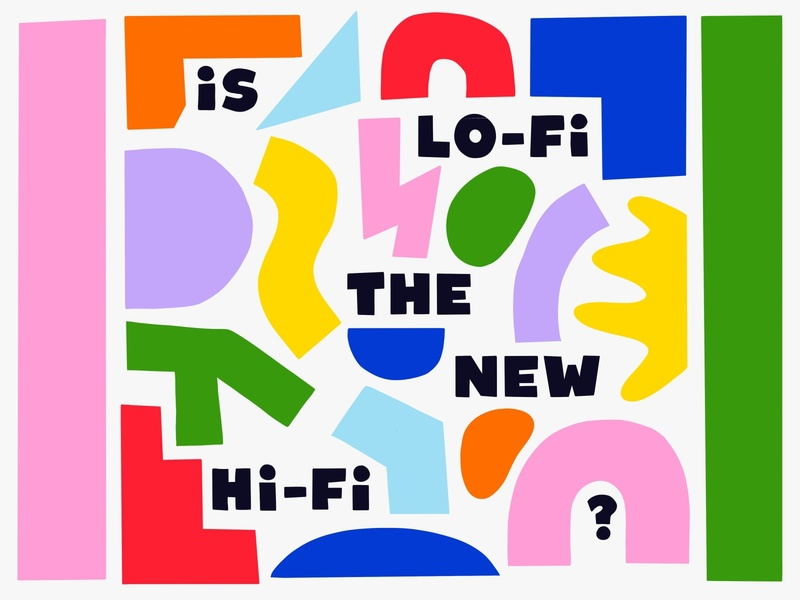 Overtime: Is Lo-Fi The New Hi-Fi? friendly happy fun cut handdrawn abstract shapes podcast art