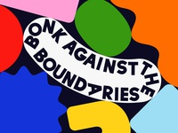 Overtime: Bonk Against The Boundaries friendly fun colorful podcast art expressive type abstract shapes