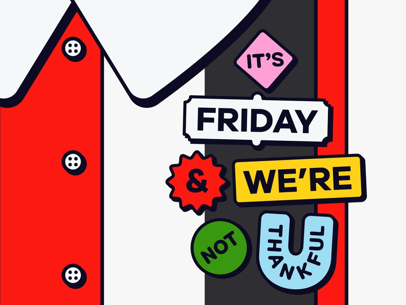 Overtime: It's Friday! (And We're Not Thankful) flair buttons tgi fridays overtime podcast art playful fun geometric shapes