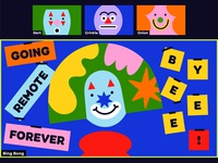 Overtime: Going Remote Forever, Byeee! fun clean simple illustration zoom geometric shapes clown podcast art