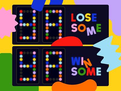 Overtime: Ya Lose Some, Ya Win Some podcast cover abstract happy friendly geometric shapes score score board scoreboard