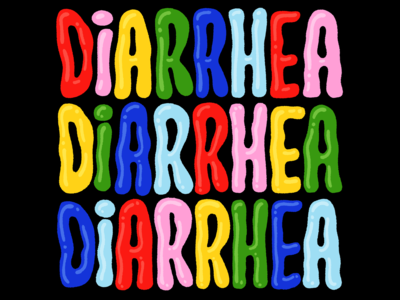 DIARRHEA! friendly clown circus fun hand lettering lettering diarrhea bubbles bubble