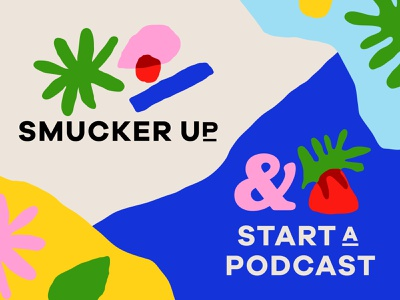 Overtime: Smucker Up & Start A Podcast type illustration fruit podcast art friendly trendy brand abstract plant flower