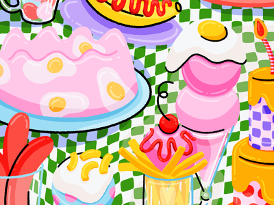 Feast illustration checker warp food meal ketchup banana jello fries hot dog ice cream eggs illustration dinner still life