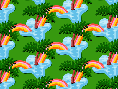 Blobby Bahama Palms ocean pattern palm tree island tropical rainbow