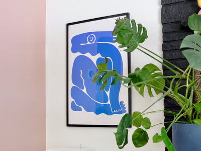 Blob Buddy In Action blob smiley smile artwork interior design framed print illustration character blue nude matisse