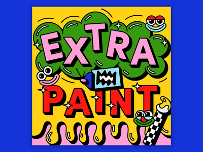 Extra Paint Podcast paint brush spray paint goofy wacky face clown graphic illustration extra paint podcast art