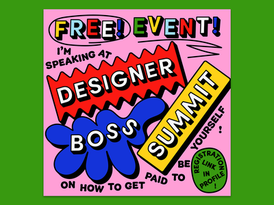 Designer Boss Summit blob poster design typography 3d geometric shapes blobs poster virtual event