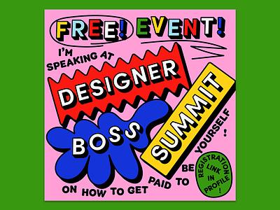 Designer Boss Summit blob poster design typography 3d geometric shapes blobs poster virtual event