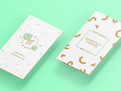 Ghostly Cards business card paper foil gold teal edge branding identity