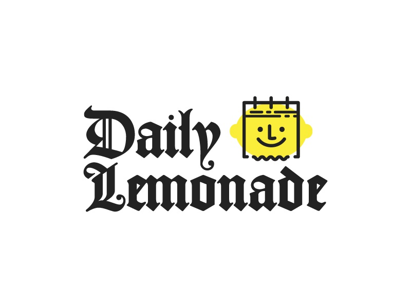 Daily Lemonade newspaper blackletter old style icon calendar face fun cute friendly happy logo branding