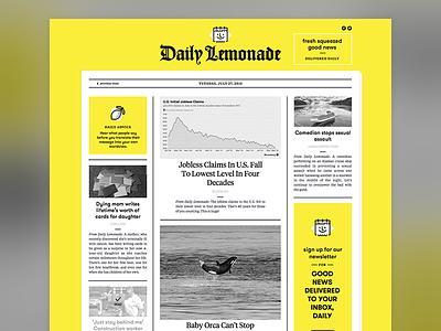 Daily Lemonade Web flat bright yellow newspaper friendly happy ui web