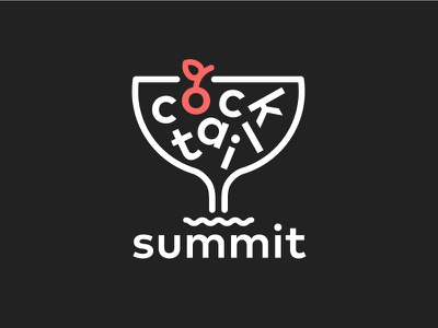 Cocktail Summit Logo vectory icon cocktail wave friendly fun brand logo