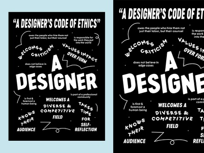 Designer's Code of Ethics Poster fun type print typographic design poster