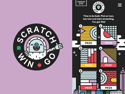 Samsung Scratch Win Go app yeti mascot abstract illustration graphic design ui