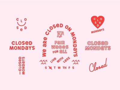 Closed Mondays - Initial Concepts identity type weird wonky playful friendly collage logo brand