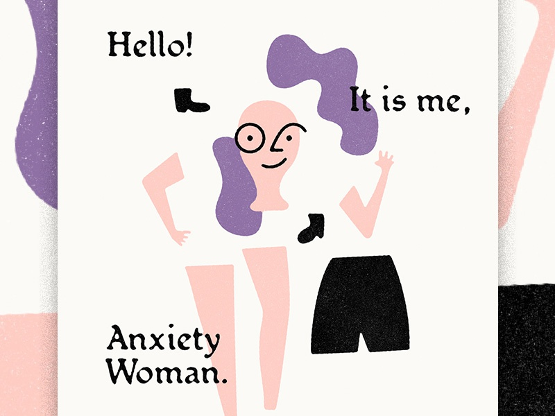 Anxiety Woman texture character person deconstructed colorful illustration vectober