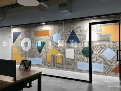 Industrious Mural paint illustration lines delicate geometric abstract mural