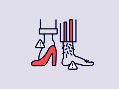 Tired Feet foot caution heels lets hairy funny humor clean icon illustration