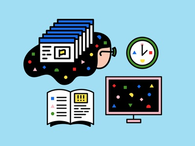 Full Time You Illustration clean hair happy play fun shapes geometric computer clock icon book illustration