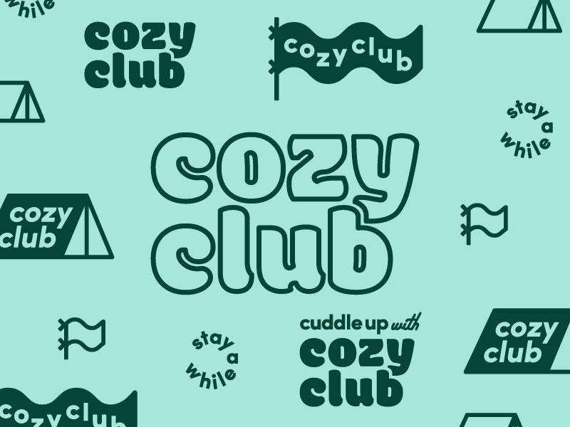 Cozy Club Final Brand typography branding flag tent outdoor brand logo