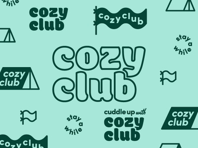 Cozy Club Final Brand typography branding flag tent outdoor brand logo