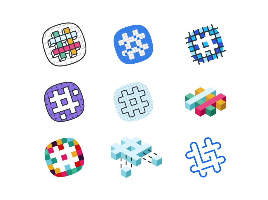 SO MANY SLACK LOGOS tech grid cube enterprise grid logo slack