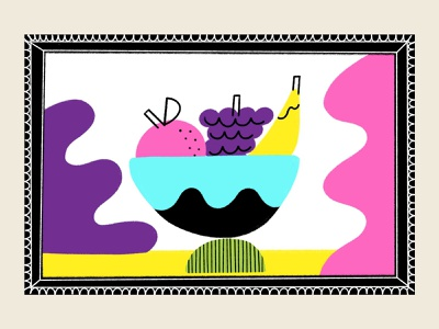 Framed Fruit Bowl colorful bright fruit illustration hand drawn organic bowl fruit
