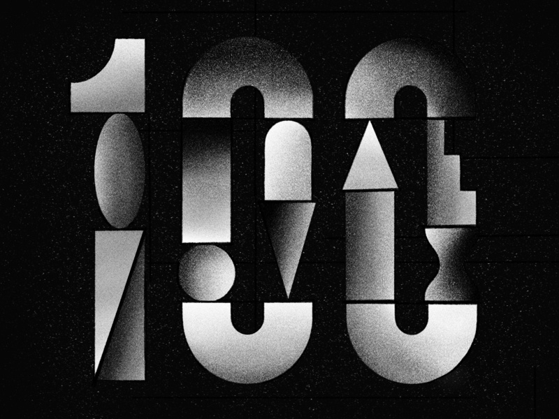 100 Every Day dark black white noise shading geometric shapes editorial