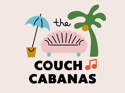 The Couch Cabanas goofy illustration couch sofa palm tree t-shirt band