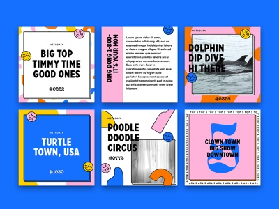 Social Media Templates instagram post blobs geometric shapes psychadelic wacky weird colorful fun graphic design square grid templates instagram