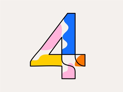 Custom number system waves fun friendly colorful blob typography 4 four numbers custom type