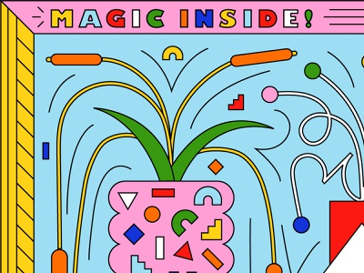 Puzzle Peek! rainbow plants shapes bright vector colorful fun illustration design puzzle