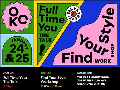 OKC AIGA Event bright colorful expressive color typography graphics event