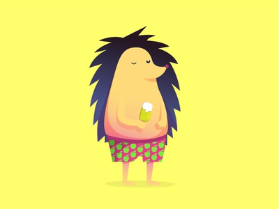 Lazy Hedgy children art gradient flat  design yellow new account childbook ice cream hedgehog animal illustration 2d