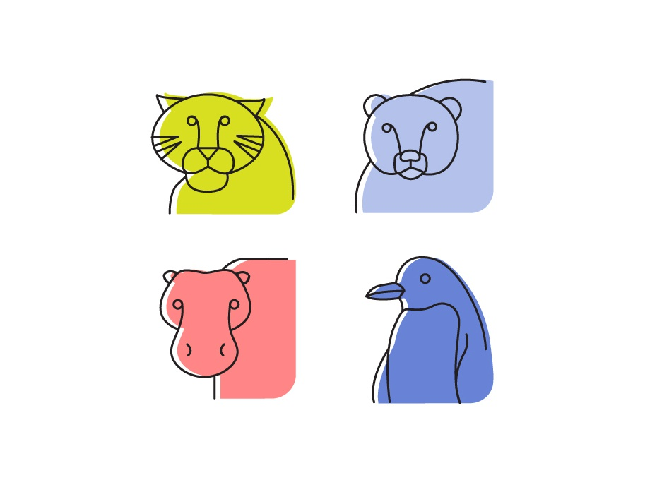 Animals picto stroke stroke icons outline icons hypo pinguin bear tiger animals new account 2d illustration graphic  design pictograms
