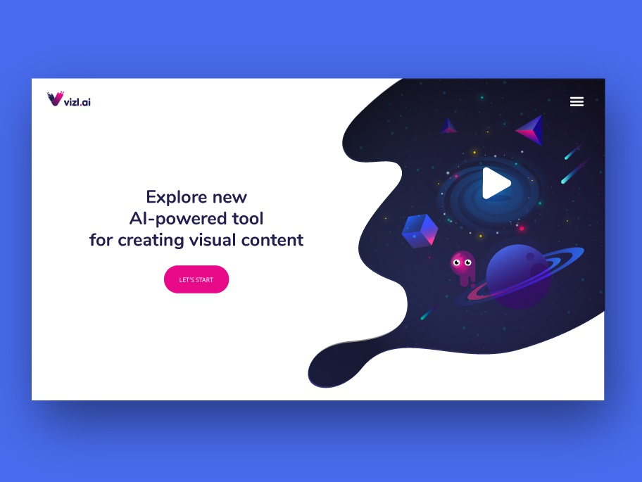 AI-powered tool for visual content new account player ui cosmos web chat bot ui illustration ui web