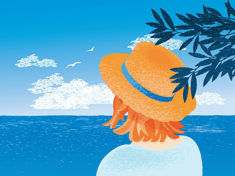 Vacation vector feedbackplease girl with hat illustrator vacation summer sea texture graphic pen 2d illustration