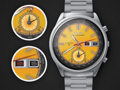 Seiko 7016-7000 Automatic Chronograph vector illustration illustrator seiko yellow watch time wrist watch chronograph automatic designcraft.hu
