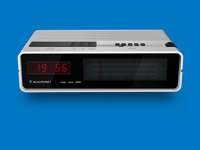 Blaupunkt mega clock 2000 radio design product illustration illustrator 2d blaupunkt blau blue white clock alarm vintage 70s 1976 ddr german old plastic designcraft.hu vector