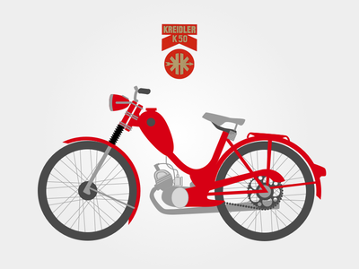 Kreidler K50 illustration sketchapp moped illustration sketch red motor cycle vector